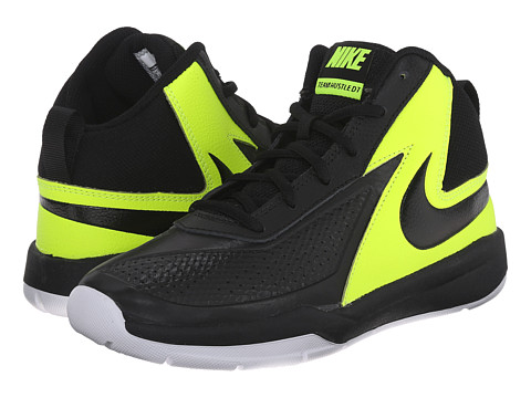 Nike Kids - Team Hustle D 7 (Big Kid) (Black/Volt/White/Black) Boys Shoes