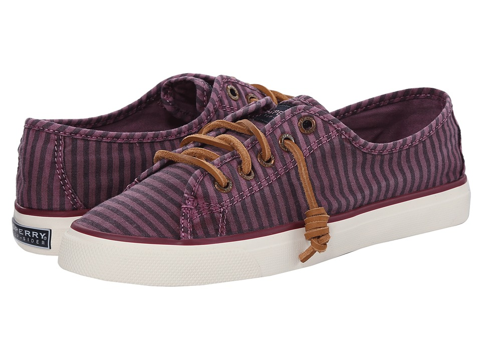 Sperry - Seacoast Striped Oxford Cloth (Burgundy) Women's Lace up casual Shoes