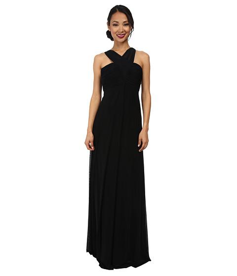 Faviana - Mesh V-Neck Shirred Bust Dress 7554 (Black) Women