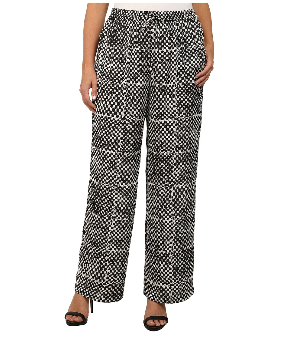 MICHAEL Michael Kors - Plus Size Printed Wide Leg Pants (Ecru) Women's Casual Pants
