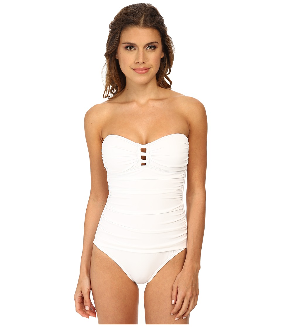 Tommy Bahama - Pearl Bandeau One-Piece with Center Strings (White) Women