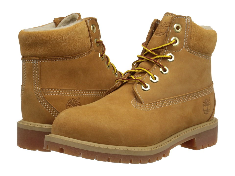Timberland Kids 6 Premium w/ Faux Shearling (Little Kid) (Wheat Nubuck) Boys Shoes