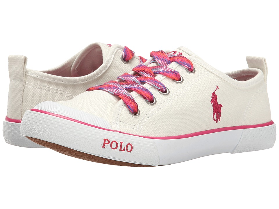 Polo Ralph Lauren Kids - Carlisle II (Little Kid) (Paper White Canvas/Pink) Girl's Shoes