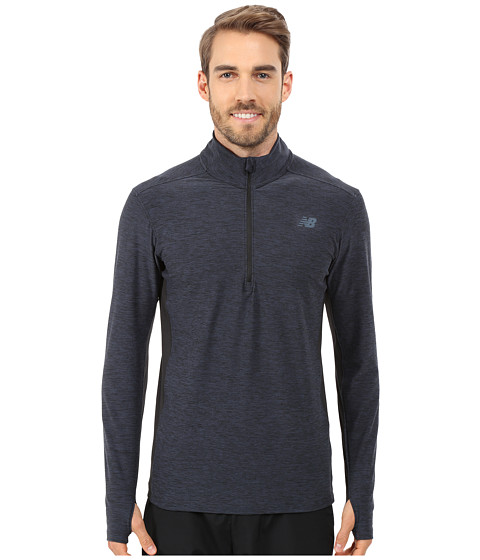 New Balance - Lightweight Tech Quarter Zip (Black/Grey) Men