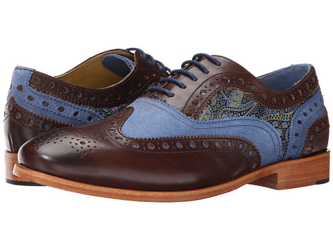 Robert Graham - Empire 3 (Dark Brown/Blue/Navy) Men's Lace Up Wing Tip Shoes