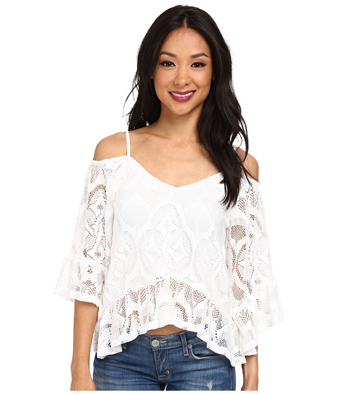 Nightcap - Crochet Ruffle Blouse (White) Women's Blouse