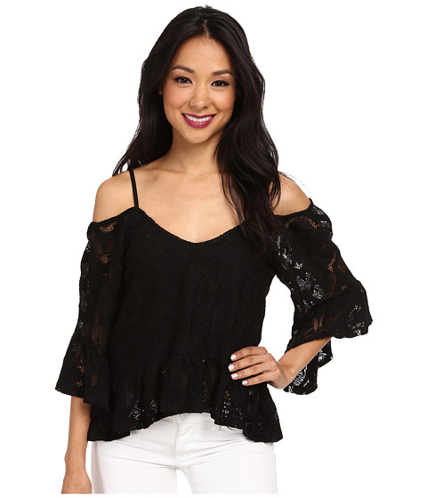 Nightcap - Crochet Ruffle Blouse (Black) Women's Blouse