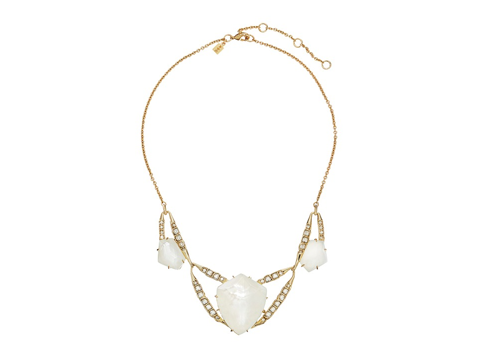 Alexis Bittar - Geometric Bib w/ Fancy Cut Crystal MOP Doublet Necklace (10K Gold) Necklace