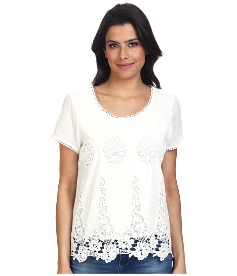 LAmade - Donna Cotton Lace Top (Natural) Women's Short Sleeve Pullover