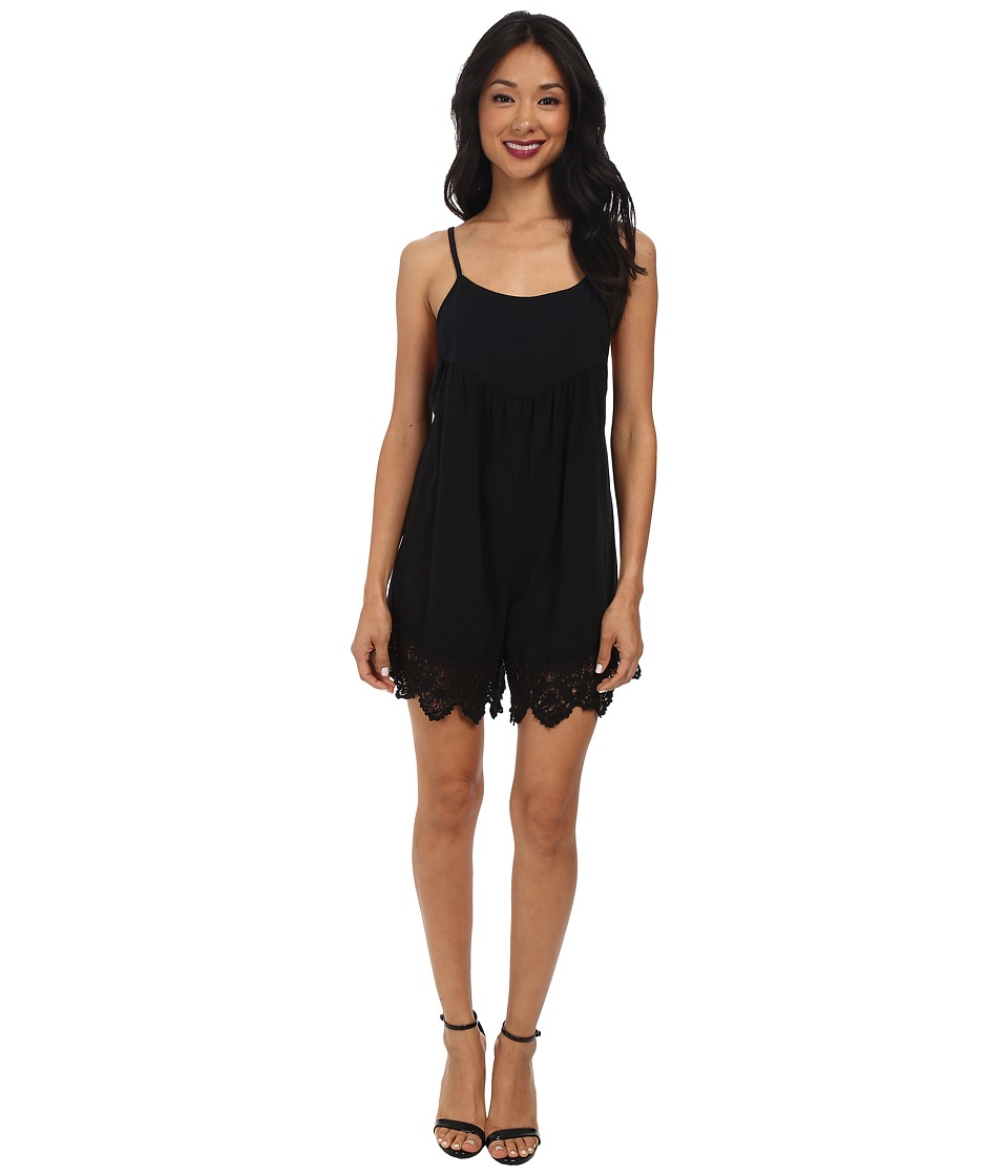 Nightcap - Jersey Crochet Flirt Suit (Black) Women's Jumpsuit & Rompers One Piece