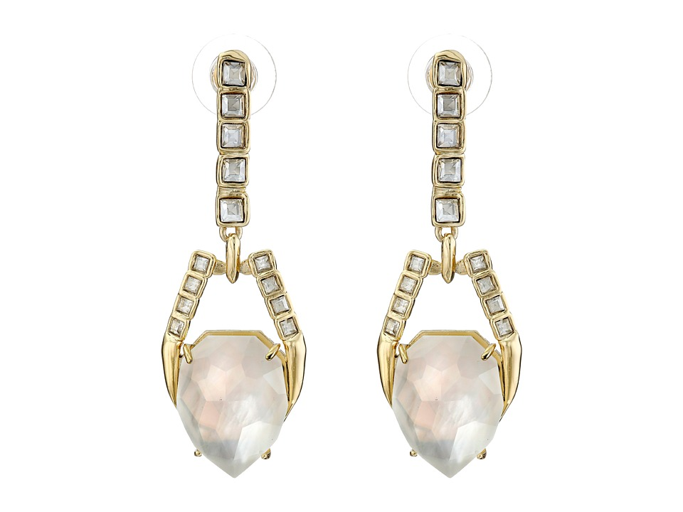 Alexis Bittar - Dangling Geometric Post with Fancy Cut Crystal and Mother of Pearl Doublet Earrings (10K Gold) Earring