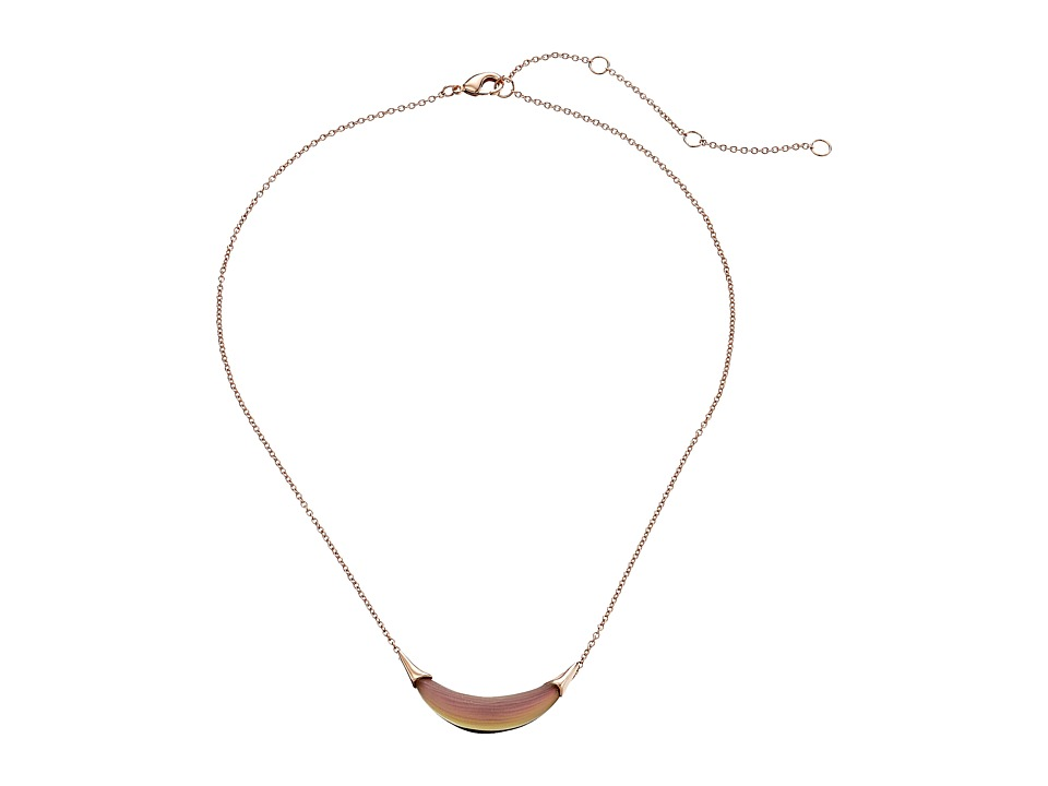Alexis Bittar - Small Capped Crescent Pendant Necklace (Rose Opalescent) Necklace