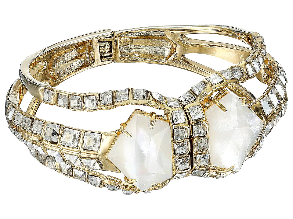 Alexis Bittar - Crystal Mosaic Hinged Bracelet with Mother of Pearl Doublet (10K Gold) Bracelet
