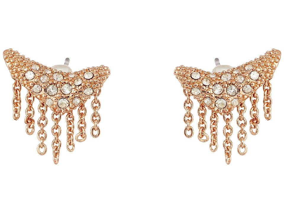 Alexis Bittar - Encrusted Stud Fringe Post Earrings (Rose Gold) Earring