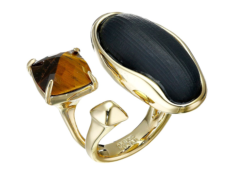 Alexis Bittar - Liquid Bezel Pyramid Tiger Eye Cocktail Ring (Black) Earring