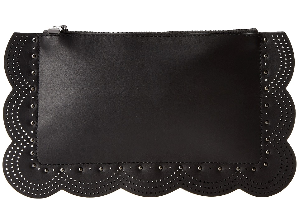 BCBGMAXAZRIA - Scalloped Zip Top Clutch (Black) Clutch Handbags