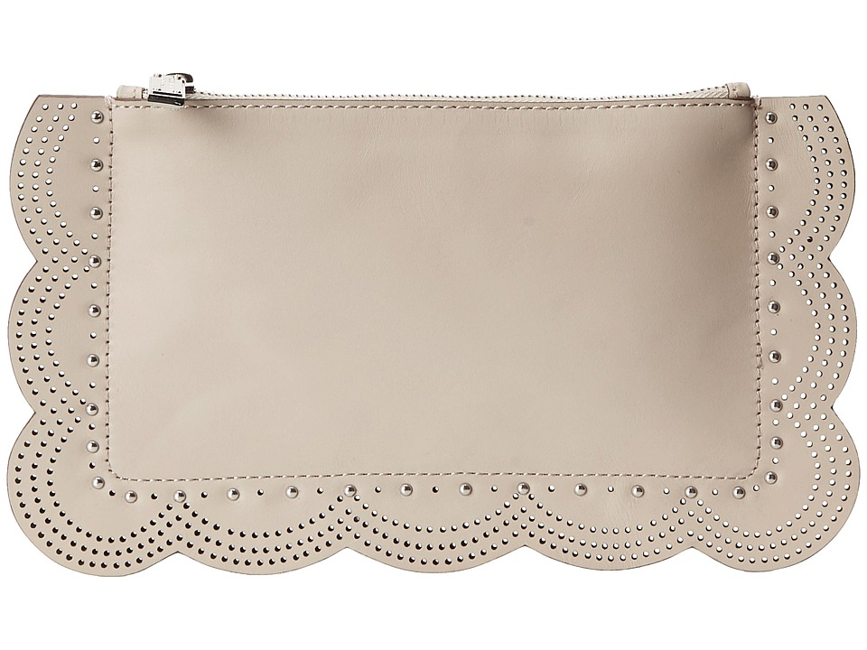 BCBGMAXAZRIA - Scalloped Zip Top Clutch (Sesame) Clutch Handbags