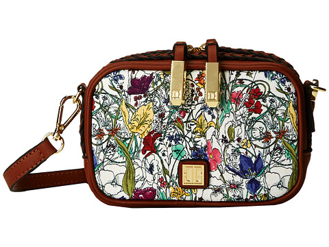 Ivanka Trump - Briarcliff Mini Crossbody (Saddle Botanical Printed Canvas) Cross Body Handbags