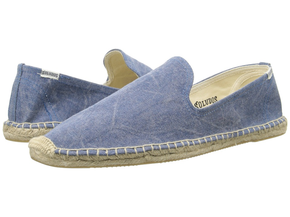 Soludos - Smoking Slipper Washed Canvas (Blue) Men's Slip on Shoes