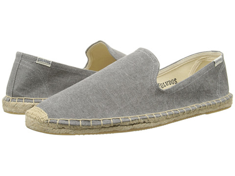 Soludos - Smoking Slipper Washed Canvas (Light Grey) Men's Slip on Shoes