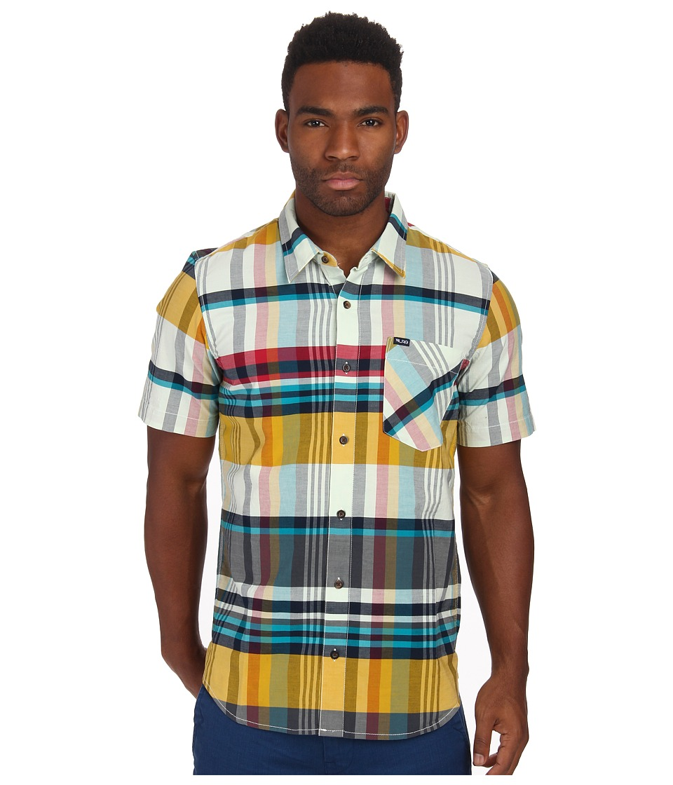 L-R-G - Short Sleeve Madras Plaid Woven (Natural) Men's Short Sleeve Button Up