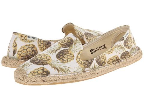 Soludos - Smoking Slipper Pineapple (White Multi) Women's Slip on Shoes