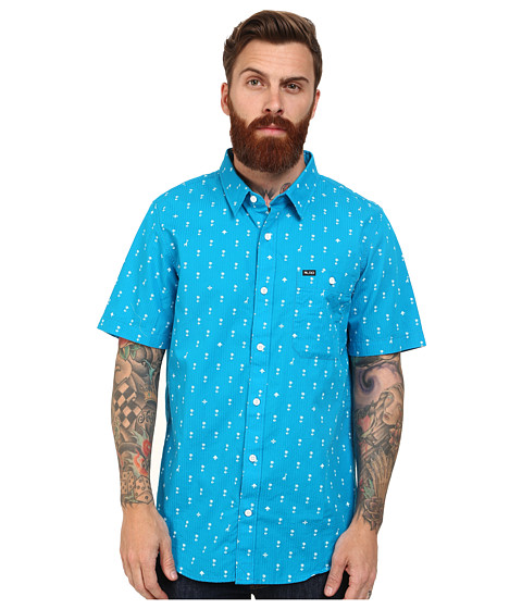 L-R-G - Palm Grove Short Sleeve Woven (Electric Blue) Men