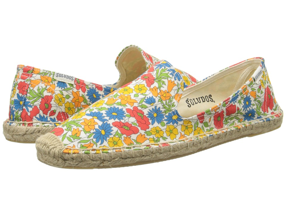 Soludos - Smoking Slipper Field Day Floral (Red Multi) Women's Slip on Shoes