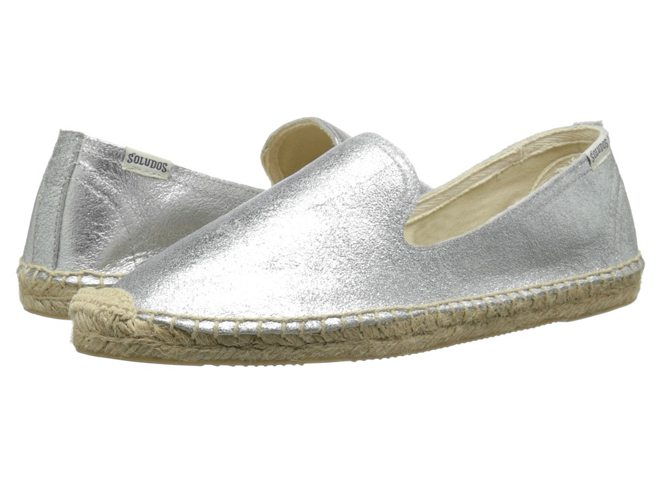 Soludos - Smoking Slipper Jupiter Leather (Silver) Women's Slip on Shoes