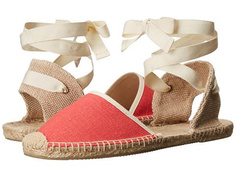 Soludos - Knobby Linen Sandal (Coral) Women