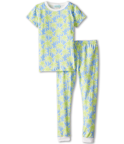 BedHead Kids - Short Sleeve Snug PJ (Toddler/Little Kids) (Periwinkle Palm Trees) Kid's Pajama Sets