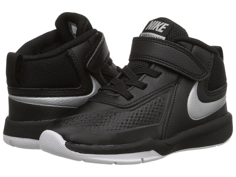 Nike Kids - Team Hustle D 7 (Infant/Toddler) (Black/White/Black/Metallic Silver) Boys Shoes