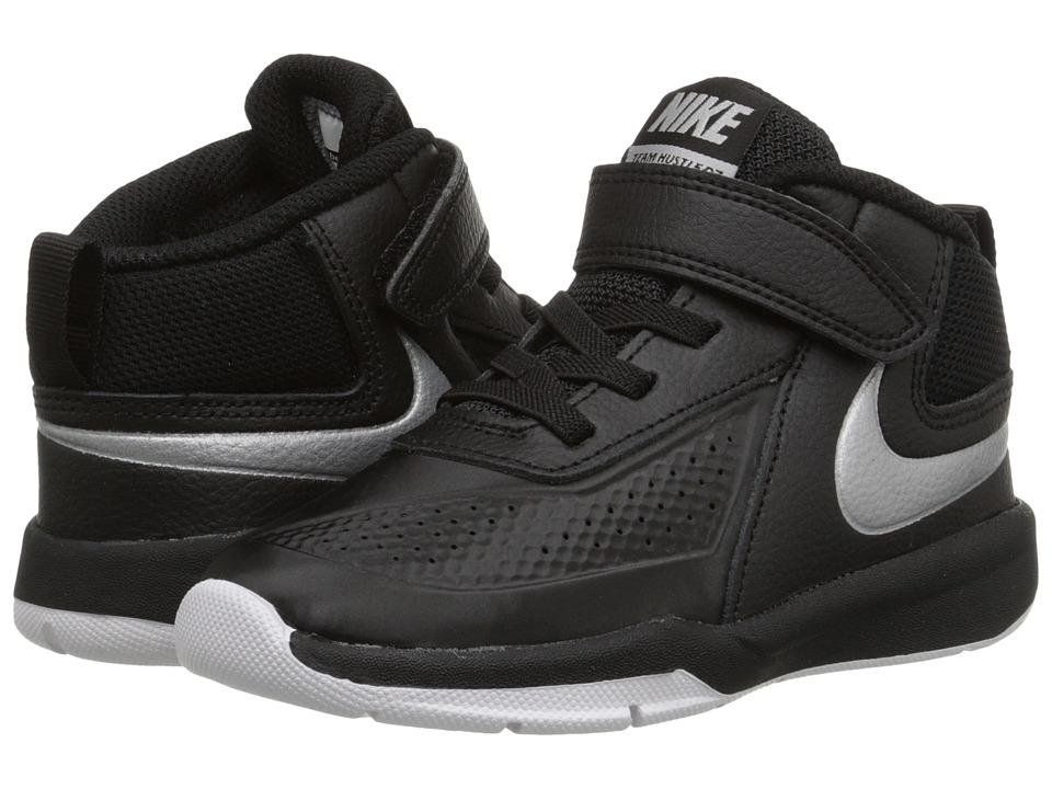 Nike Kids - Team Hustle D 7 (Infant/Toddler) (Black/White/Black/Metallic Silver) Boys Shoes
