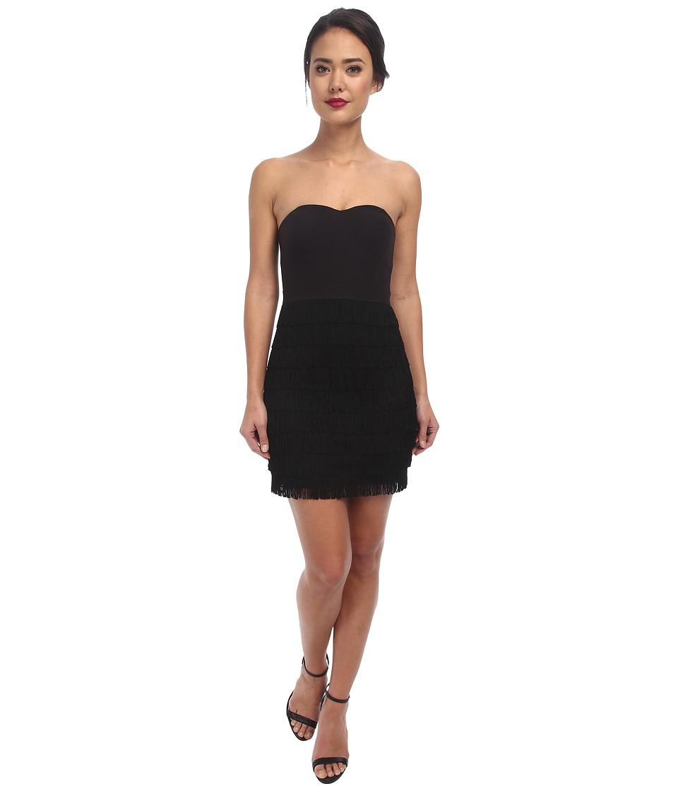 Aidan Mattox - Strapless Cocktail Dress w/ Fringe Tiers (Black) Women