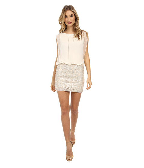 Aidan Mattox - Sequin Lace Blouson Dress (Champagne) Women