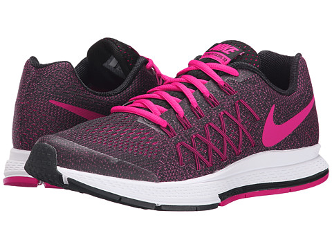 Nike Kids - Zoom Pegasus 32 (Little Kid/Big Kid) (Black/White/Vivid Pink) Girls Shoes