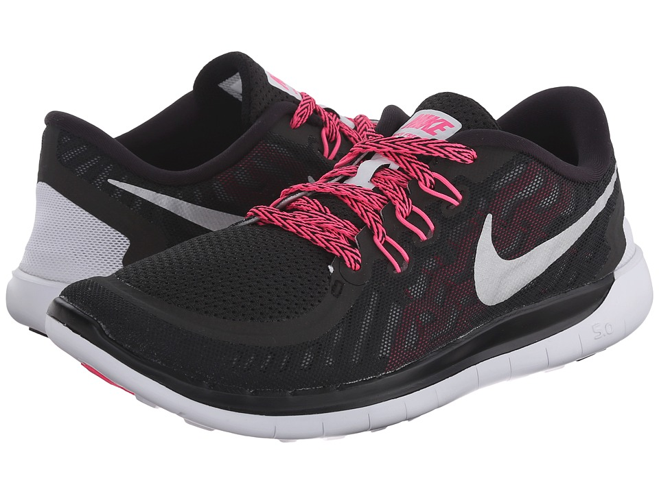 Nike Kids - Free 5.0 (Big Kid) (Black/Vivid Pink/Pink Pow/Metallic Silver) Girls Shoes