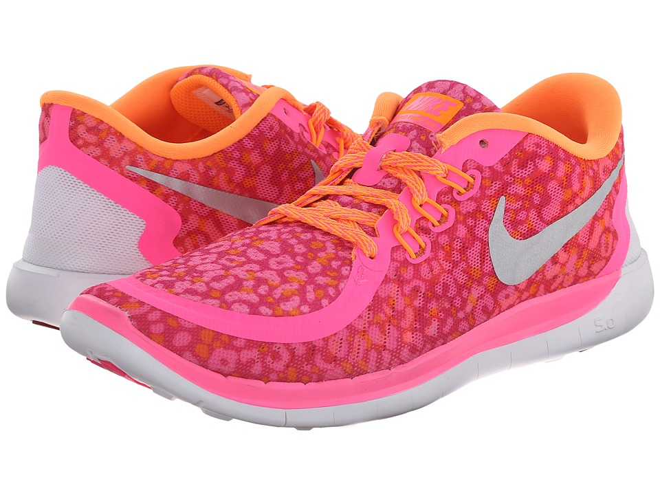 Nike Kids - Free 5.0 Print (Big Kid) (Pink Pow/Bright Citrus/Vivid Pink/Metallic Silver) Girls Shoes