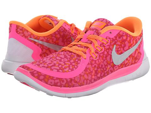 Nike Kids - Free 5.0 Print (Big Kid) (Pink Pow/Bright Citrus/Vivid Pink/Metallic Silver) Girls Shoes
