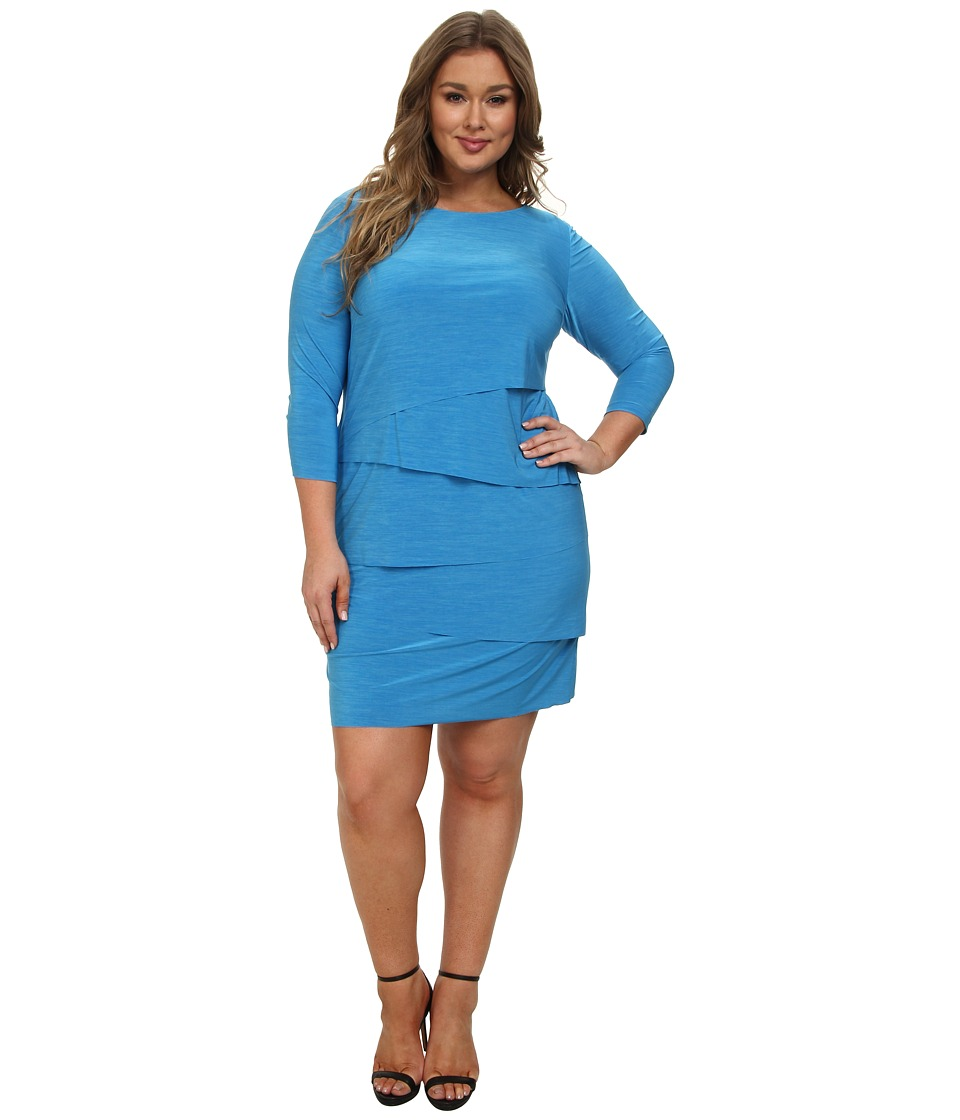 Tahari by ASL Plus - Plus Size Alen Dress (Ocean Blue) Women