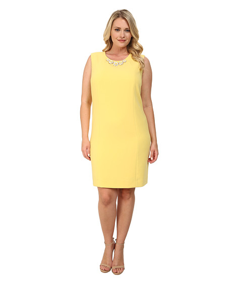 Tahari by ASL Plus - Plus Size Debbie Dress (Yellow) Women's Dress