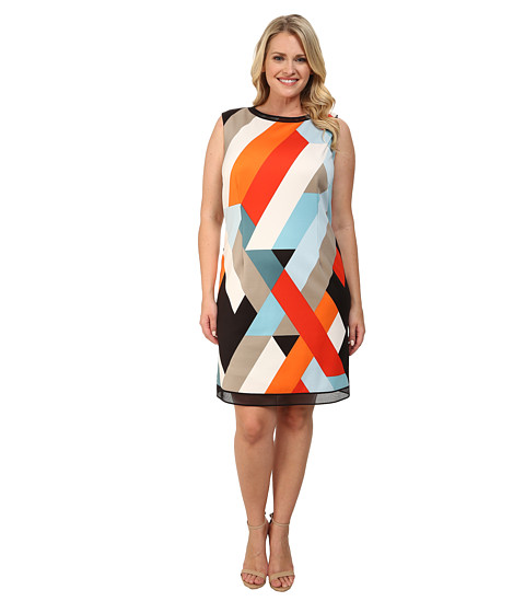 Tahari by ASL Plus - Plus Size Tammy Dress (Tangerine/Blue) Women's Dress