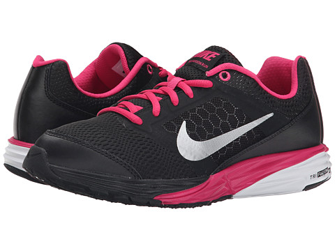 Nike Kids - Tri Fusion Run (Big Kid) (Black/Vivid Pink/Metallic Silver) Girls Shoes