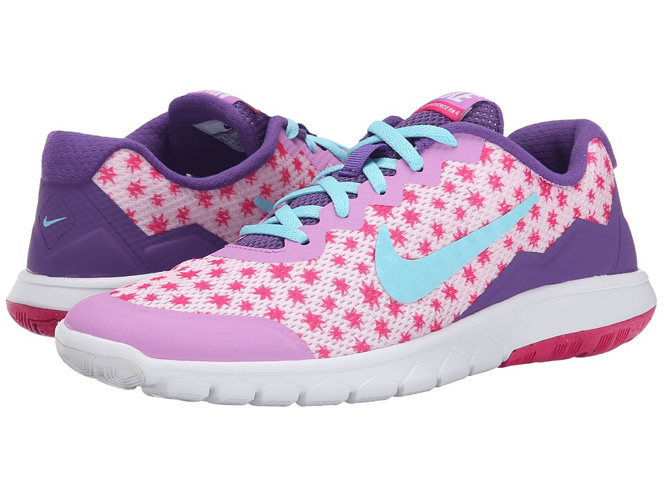 Nike Kids - Flex Experience 4 Print (Big Kid) (Prism Pink/Fuchsia Glow/Pink Foil/Tide Pool Blue) Girls Shoes