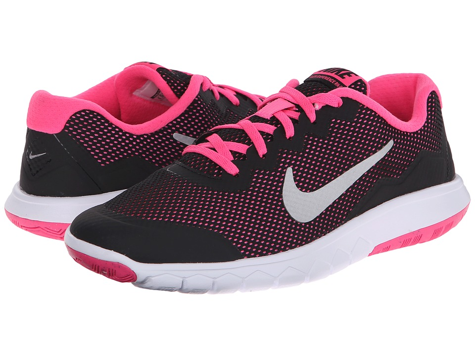 Nike Kids - Flex Experience 4 (Big Kid) (Black/Pink Pow/Metallic Silver) Girls Shoes