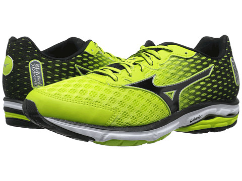 Mizuno - Wave Rider 18 (Lime Punch/Black/Silver) Men's Shoes
