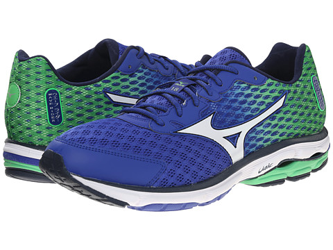 Mizuno - Wave Rider 18 (Surf the Web/White/Classic Green) Men's Shoes