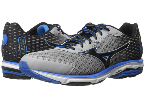 Mizuno - Wave Rider 18 (Alloy/Black/Electric Blue Lemonade) Men