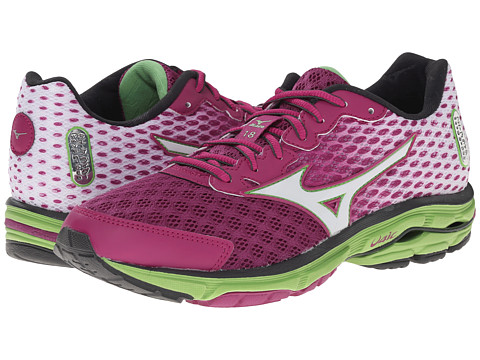 Mizuno - Wave Rider 18 (Wild Aster/White/Grass Green) Women's Shoes