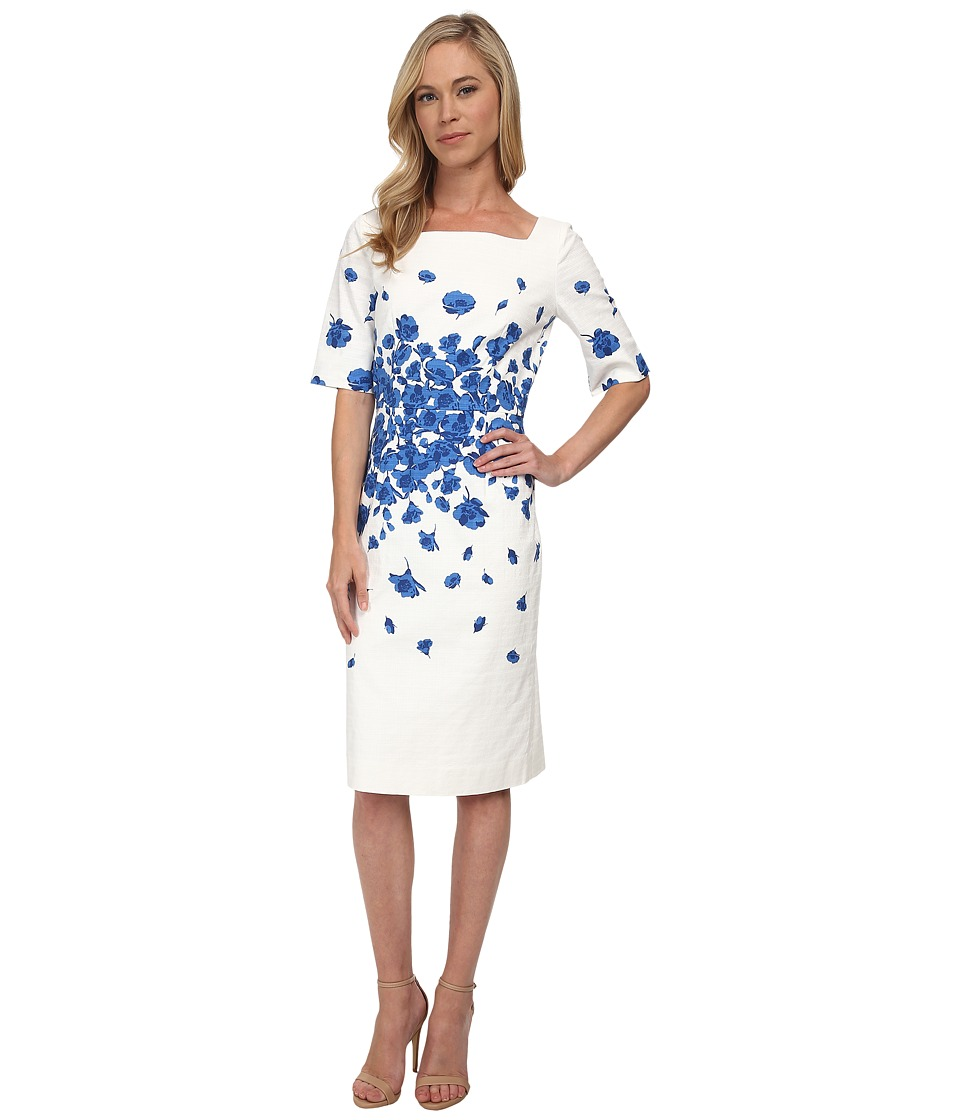 Tahari by ASL Petite - Petite Ronnie Dress (Ivory/Royal) Women